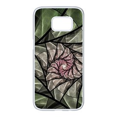 Fractal Flowers Floral Fractal Art Samsung Galaxy S7 Edge White Seamless Case by Celenk