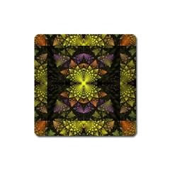 Fractal Multi Color Geometry Square Magnet by Celenk