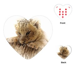 Lion Cub Close Cute Eyes Lookout Playing Cards (heart)  by Celenk