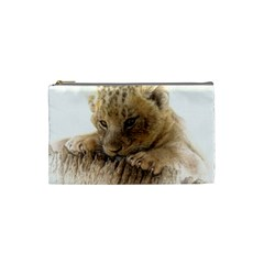 Lion Cub Close Cute Eyes Lookout Cosmetic Bag (small)  by Celenk