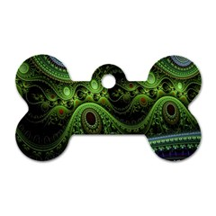 Fractal Green Gears Fantasy Dog Tag Bone (two Sides) by Celenk