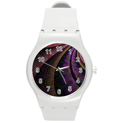 Fractal Colorful Pattern Spiral Round Plastic Sport Watch (m) by Celenk