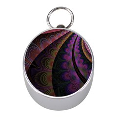 Fractal Colorful Pattern Spiral Mini Silver Compasses by Celenk