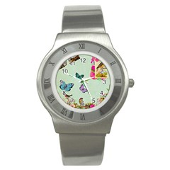 Whimsical Shabby Chic Collage Stainless Steel Watch by 8fugoso