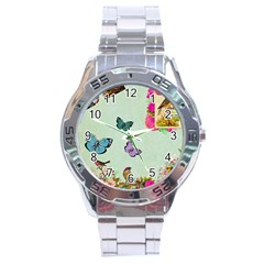 Whimsical Shabby Chic Collage Stainless Steel Analogue Watch by 8fugoso