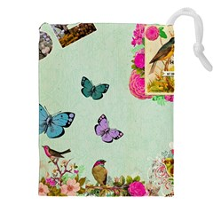 Whimsical Shabby Chic Collage Drawstring Pouches (xxl) by 8fugoso