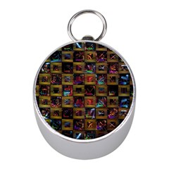Kaleidoscope Pattern Abstract Art Mini Silver Compasses by Celenk