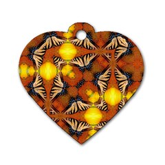 Dancing Butterfly Kaleidoscope Dog Tag Heart (two Sides) by Celenk