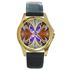 Fractal Splits Silver Gold Round Gold Metal Watch by Celenk