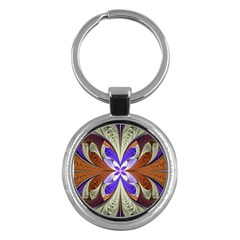 Fractal Splits Silver Gold Key Chains (round)  by Celenk