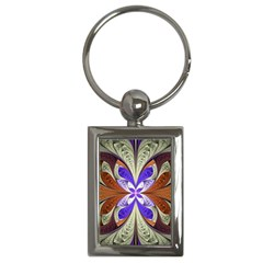 Fractal Splits Silver Gold Key Chains (rectangle)  by Celenk