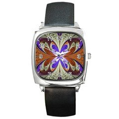 Fractal Splits Silver Gold Square Metal Watch by Celenk