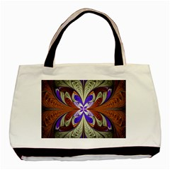 Fractal Splits Silver Gold Basic Tote Bag by Celenk