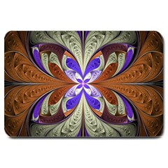 Fractal Splits Silver Gold Large Doormat  by Celenk