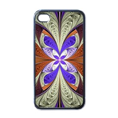 Fractal Splits Silver Gold Apple Iphone 4 Case (black) by Celenk