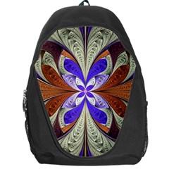 Fractal Splits Silver Gold Backpack Bag by Celenk
