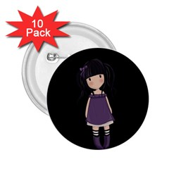 Dolly Girl In Purple 2 25  Buttons (10 Pack)  by Valentinaart