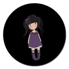 Dolly Girl In Purple Magnet 5  (round) by Valentinaart