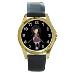 Dolly Girl In Purple Round Gold Metal Watch by Valentinaart
