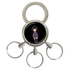 Dolly Girl In Purple 3 Ring Key Chains by Valentinaart