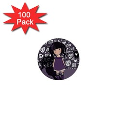 Dolly Girl In Purple 1  Mini Buttons (100 Pack)  by Valentinaart