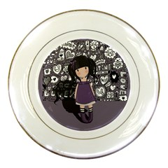 Dolly Girl In Purple Porcelain Plates by Valentinaart
