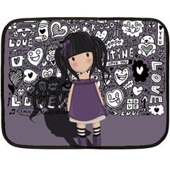 Dolly Girl In Purple Fleece Blanket (mini) by Valentinaart