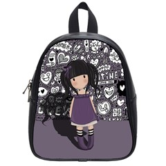Dolly Girl In Purple School Bag (small) by Valentinaart