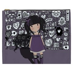 Dolly Girl In Purple Cosmetic Bag (xxxl)  by Valentinaart
