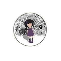 Dolly Girl In Purple Hat Clip Ball Marker by Valentinaart