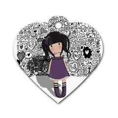 Dolly Girl In Purple Dog Tag Heart (one Side) by Valentinaart
