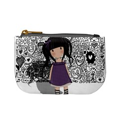 Dolly Girl In Purple Mini Coin Purses by Valentinaart