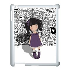 Dolly Girl In Purple Apple Ipad 3/4 Case (white) by Valentinaart