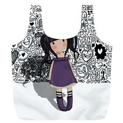 Dolly Girl In Purple Full Print Recycle Bags (l)  by Valentinaart