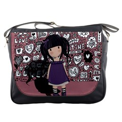 Dolly Girl In Purple Messenger Bags by Valentinaart