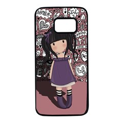 Dolly Girl In Purple Samsung Galaxy S7 Black Seamless Case by Valentinaart