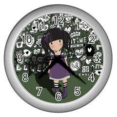Dolly Girl In Purple Wall Clocks (silver)  by Valentinaart