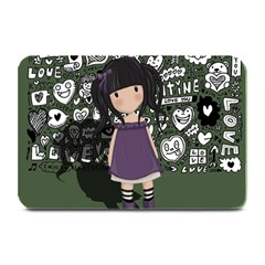 Dolly Girl In Purple Plate Mats by Valentinaart