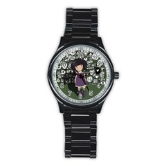 Dolly Girl In Purple Stainless Steel Round Watch by Valentinaart