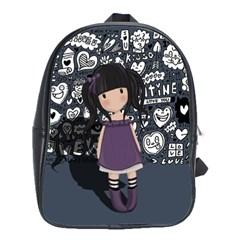 Dolly Girl In Purple School Bag (large) by Valentinaart