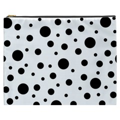 Black On White Polka Dot Pattern Cosmetic Bag (xxxl)  by LoolyElzayat