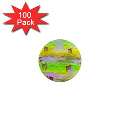 Cows And Clouds In The Green Fields 1  Mini Magnets (100 Pack)  by CosmicEsoteric