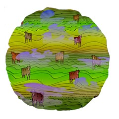 Cows And Clouds In The Green Fields Large 18  Premium Round Cushions by CosmicEsoteric