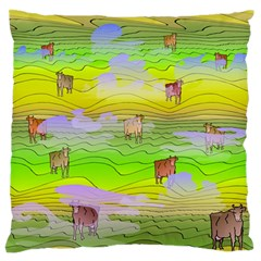 Cows And Clouds In The Green Fields Standard Flano Cushion Case (two Sides) by CosmicEsoteric