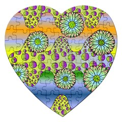 Amoeba Flowers Jigsaw Puzzle (heart) by CosmicEsoteric