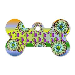 Amoeba Flowers Dog Tag Bone (one Side) by CosmicEsoteric
