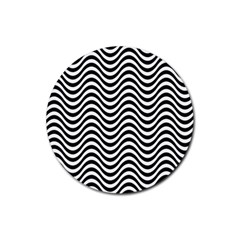 Wave Pattern Wavy Water Seamless Rubber Coaster (round)  by Celenk