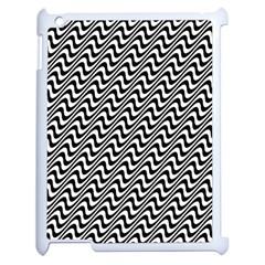 White Line Wave Black Pattern Apple Ipad 2 Case (white) by Celenk