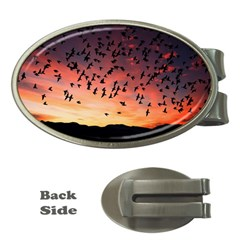 Sunset Dusk Silhouette Sky Birds Money Clips (oval)  by Celenk