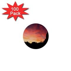 Sunset Silhouette Sun Sky Evening 1  Mini Buttons (100 Pack)  by Celenk